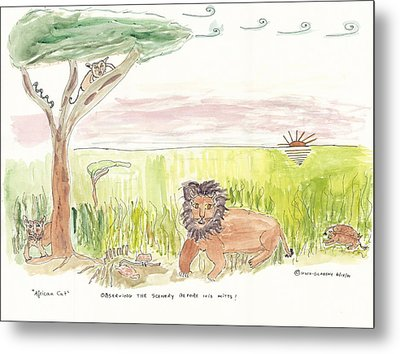 Metal Print featuring the painting Serrengetti Cats by Helen Holden-Gladsky