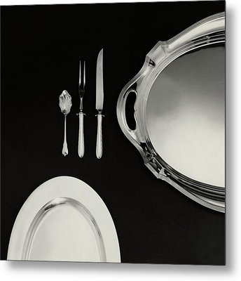 Serving Dishes And Utensils Metal Print by Herbert Matter