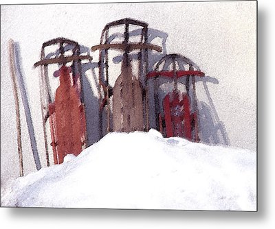 Metal Print featuring the photograph Set Aside Sleds by Susan Crossman Buscho
