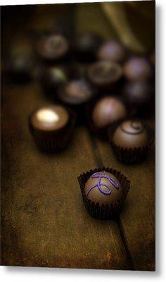 Set Of Round Chocolate Pralines Metal Print by Jaroslaw Blaminsky