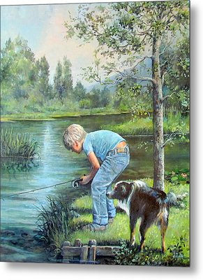Seth And Spiky Fishing Metal Print by Donna Tucker
