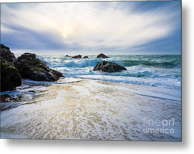 Setting Sun And Rising Tide Metal Print by CML Brown