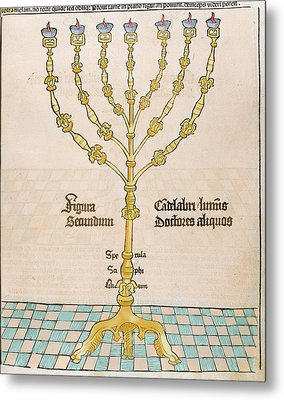 Seven-branched Candelabrum Or Menorah Metal Print by Prisma Archivo