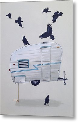 Seven Crows And A Canned Ham Metal Print by Jeffrey Bess