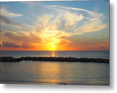 Metal Print featuring the photograph Seven Mile Sunset Over Grand Cayman by Amy McDaniel
