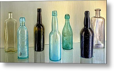 Seven Old Bottles Metal Print