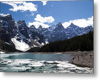 Seven Sisters At Moraine Lake Metal Print by Angela Boyko