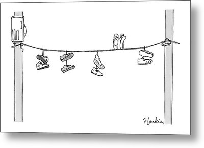 Several Pairs Of Shoes Dangle Over An Electrical Metal Print