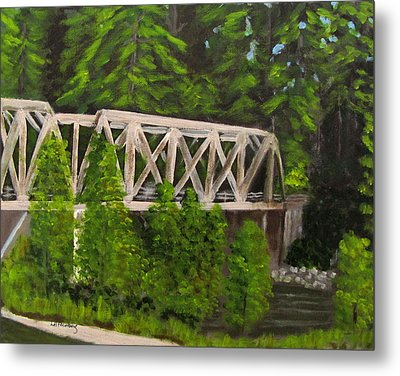 Sewalls Falls Bridge Metal Print