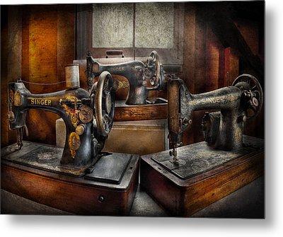 Sewing - A Chorus Of Three Metal Print by Mike Savad