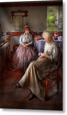 Sewing - I Can Watch Her Sew For Hours Metal Print by Mike Savad