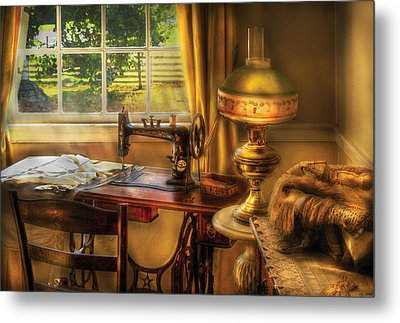 Sewing Machine - Domestic Sewing Machine Metal Print by Mike Savad