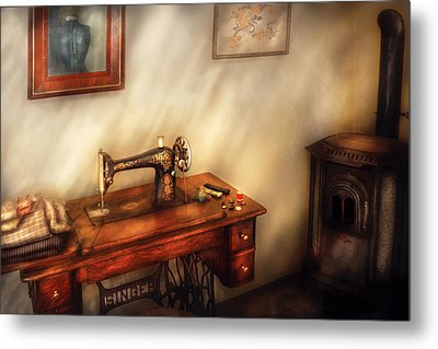 Sewing Machine - Sewing In A Cozy Room  Metal Print by Mike Savad