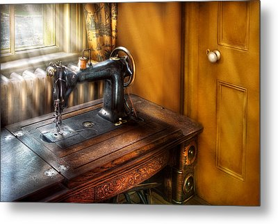 Sewing Machine  - The Sewing Machine  Metal Print by Mike Savad
