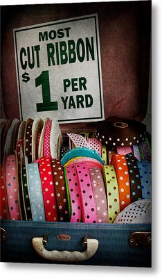 Sewing - Ribbon By The Yard Metal Print by Mike Savad