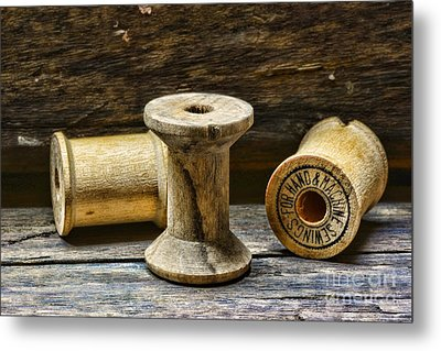 Sewing Vintage Wood Spools Metal Print