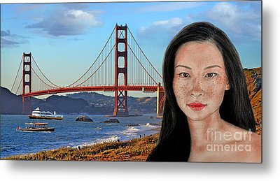 Sexy Freckle Faced Beauty Lucy Liu Altered Version Metal Print by Jim Fitzpatrick