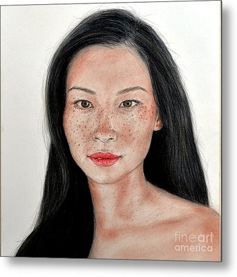 Sexy Freckle Faced Beauty Lucy Liu Metal Print by Jim Fitzpatrick