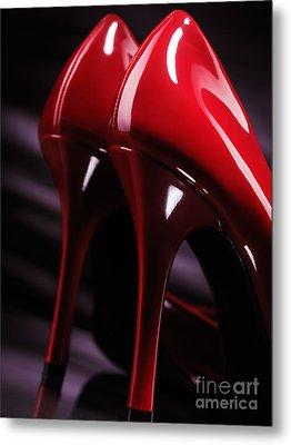 Sexy Red High Heel Shoes Closeup Metal Print by Oleksiy Maksymenko