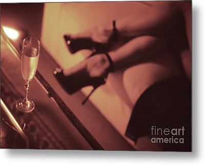 Sexy Young Lady In Stiletto High Heel Shoes And Glass Of Champagne Metal Print by Edward Olive