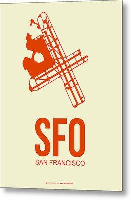 Sfo San Francisco Airport Poster 1 Metal Print by Naxart Studio