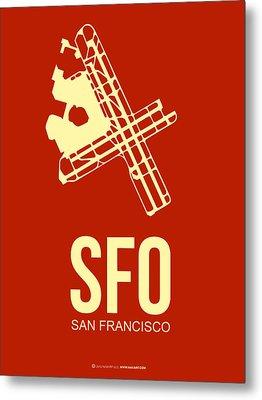 Sfo San Francisco Airport Poster 2 Metal Print by Naxart Studio