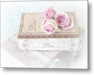 Shabby Chic Cottage Chic Dreamy Pastel Pink Cottage Roses With Romantic Love Pink Books Metal Print by Kathy Fornal