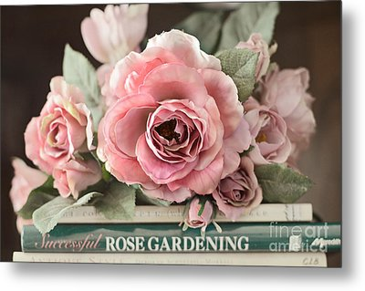 Shabby Chic Vintage Roses - Dreamy Ethereal Peach Pink Roses Garden Cottage Art Metal Print by Kathy Fornal