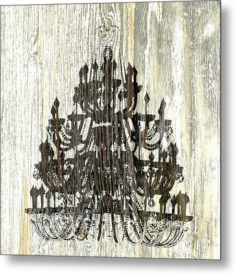 Shabby Chic Rustic Black Chandelier On White Washed Wood Metal Print by Suzanne Powers