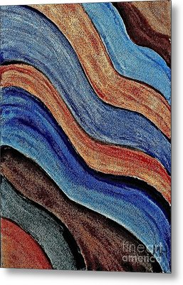 Shades Of Blue And Brown Metal Print