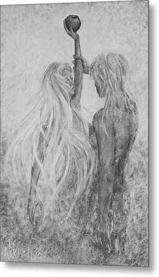 Metal Print featuring the painting Shades Of Gray - Adam And Eve by Nik Helbig
