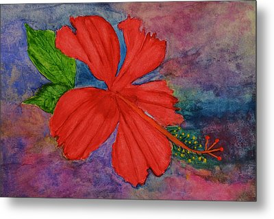 Shades Of Red Hibiscus Metal Print