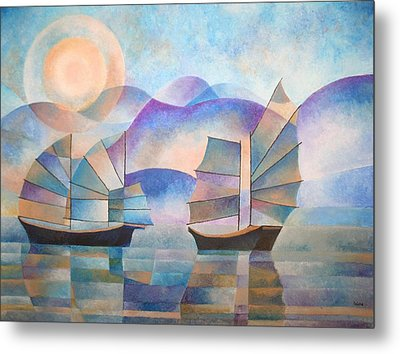Metal Print featuring the painting Shades Of Tranquility by Tracey Harrington-Simpson