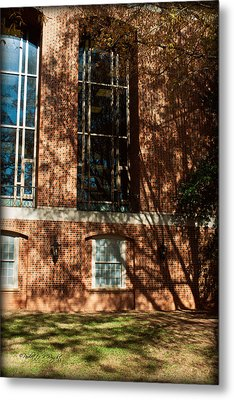Shadows Across The Library - Davidson College Metal Print by Paulette B Wright