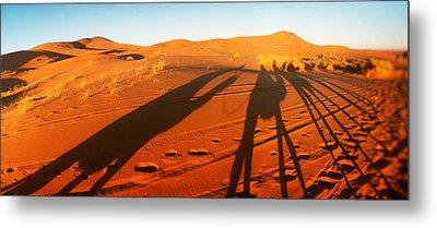 Shadows Of Camel Riders In The Desert Metal Print