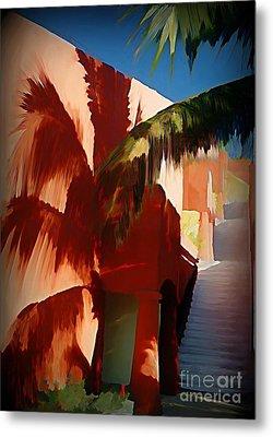 Shadows Of Palm Leaves Metal Print