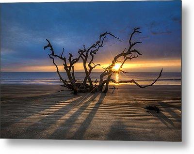 Shadows On The Sand Metal Print by Debra and Dave Vanderlaan