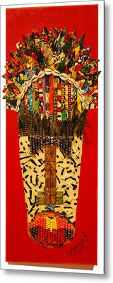 Metal Print featuring the tapestry - textile Shaka Zulu by Apanaki Temitayo M