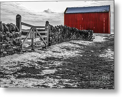 Shakertown Red Barn - Sc Metal Print by Mary Carol Story