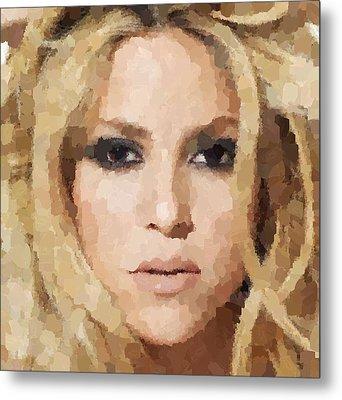 Shakira Portrait Metal Print by Samuel Majcen