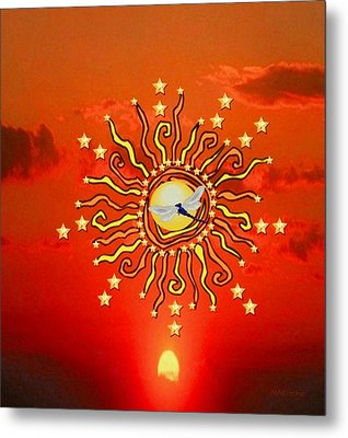 Metal Print featuring the digital art Shaman Sun by Mary Anne Ritchie