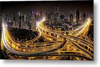 Shanghai At Night Metal Print by Clemens Geiger