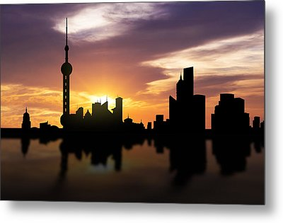 Shanghai China Sunset Skyline  Metal Print by Aged Pixel