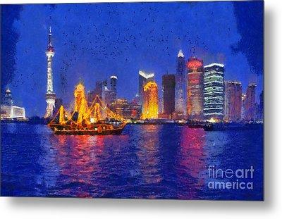 Shanghai During Dusk Time Metal Print