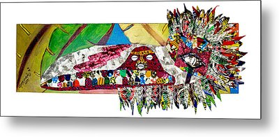 Metal Print featuring the tapestry - textile Shango Firebird by Apanaki Temitayo M
