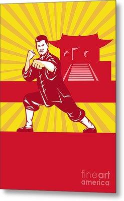 Shaolin Kung Fu Martial Arts Master Retro Metal Print by Aloysius Patrimonio