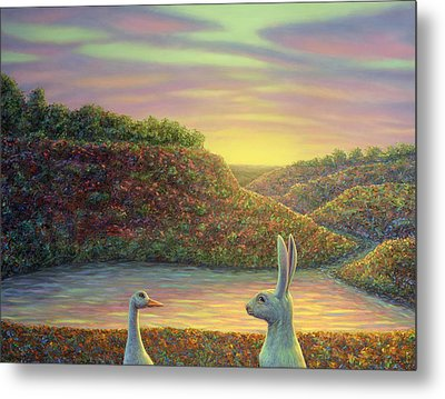 Sharing A Moment Metal Print by James W Johnson