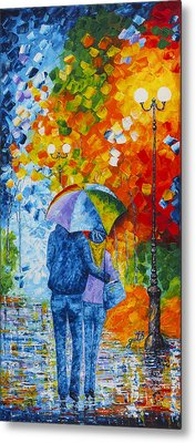 Metal Print featuring the painting Sharing Love On A Rainy Evening Original Palette Knife Painting by Georgeta Blanaru