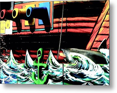 Metal Print featuring the photograph Shark And Pirate Ship Pop Art Posterized Photo by Marianne Dow