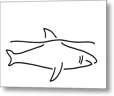 Shark Shark Fish Fin Sea Metal Print by Lineamentum
